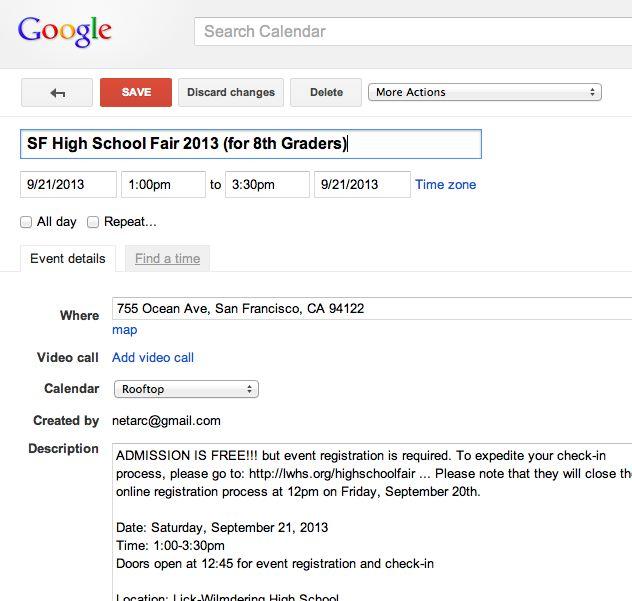 add an event to google calendar rooftop school